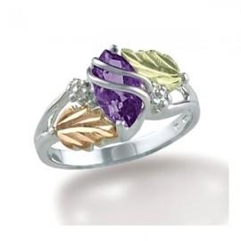 Black Hills Sterling Ezüst & 12K Arany Gyűrű Ametisztte