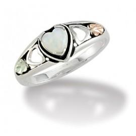Black Hills Ezüst és 12K Arany Szív Gyűrű Opállal