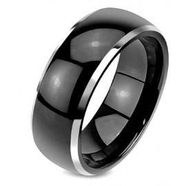 Fekete Wolfram Karikagyűrű Ezüst Széllel