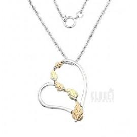Ezüst és 12k Arany Szívmedál Lánccal