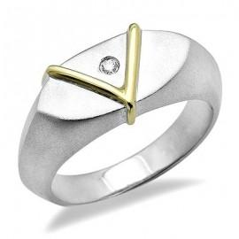 Sterling Ezüst Gyűrű 18K Arannyal és Gyémánt Drágakövekkel
