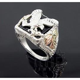Sterling Ezüst és 12 Karátos Arany Férfi Gyűrű