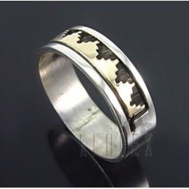 Amerikai Indián Ezüst és 14K Arany Gyűrű