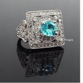 Arany Gyűrű 3ct Topáz és Gyémánt Drágakővel