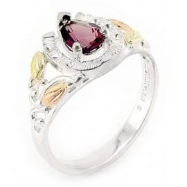 Ezüst és 12K Arany Női Gyűrű Gránát Drágakővel