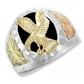 Ezüst Férfi Gyűrű Arannyal és Ónixszal