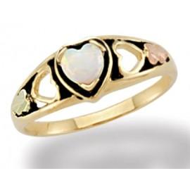 10K Arany Szív Gyűrű 12K Levelekkel és Opállal