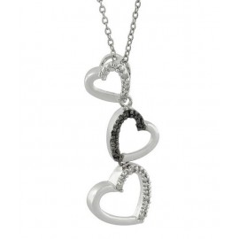 925 Ezüst Szívek Medál Gyémánt Drágakövekkel