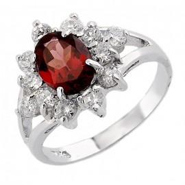 Ezüst Gyűrű Gránát Drágakővel