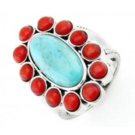Sterling Ezüst Gyűrű Türkiz és Korall Drágakövekkel