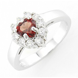 Ródiumozott Ezüst Gyűrű Szív Alakú Gránát Drágakővel