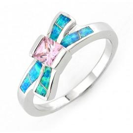 Ezüst Masni Opál Gyűrű Rózsaszín Cubic Zirconiával