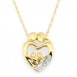 10K Arany Két Szülő Két Gyerek Családi Szeretet Medál Gyémánt Kiemeléssel