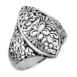 Ezüst Áttört Virágos Gyűrű