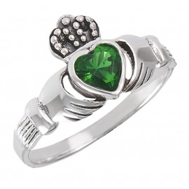 Sterling Ezüst Claddagh Gyűrű Smaragddal