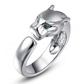Magas Fényű Párduc Gyűrű Zöld Kristály Szemmel