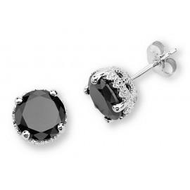 Ródiumozott Ezüst Fülbevaló 8MM Fekete Szintetikus Gyémánttal