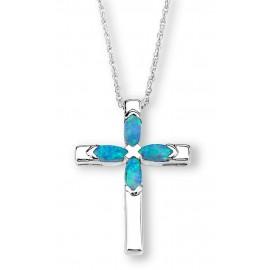 Ródiumozott Ezüst Kereszt Medál Kék Opállal
