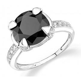 Ródiumozott Ezüst Gyűrű Fehér és Fekete Szintetikus Gyémánttal