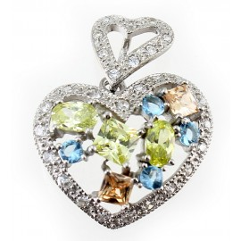 Ezüst Szívmedál Citrin, Topáz és Cubic Zirconia Kövekkel