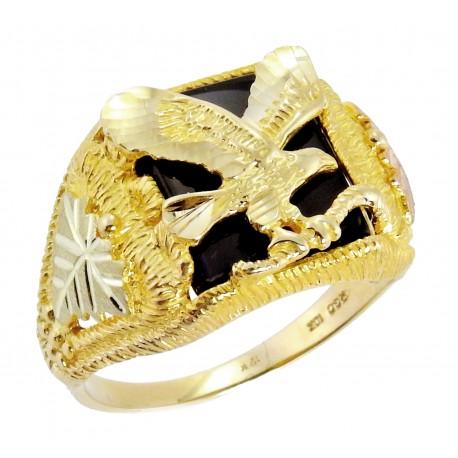 Black Hills 10K Arany Férfi Gyűrű Sassal és Onix Drágakővel