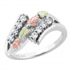 Black Hills Sterling Ezüst & 12k Arany Gyűrű Szintetikus Gyémánttal