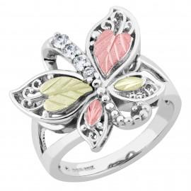 Black Hills Sterling Ezüst és 12k Arany Pillangó Gyűrű Szintetikus Gyémántokkal