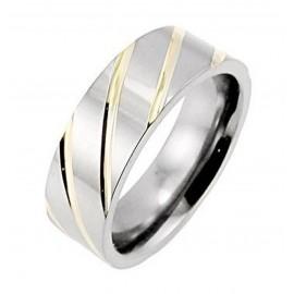 Titánium Karikagyűrű Arany Csíkokkal