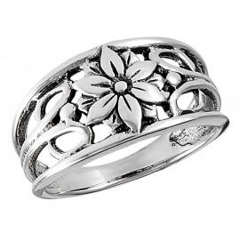 Ezüst Gyűrű Virággal
