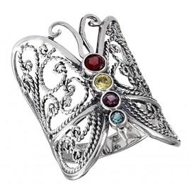 Mutatós Ezüst Pillangó Gyűrű Színes Kövekkel