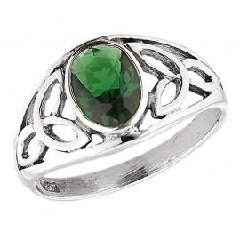 Ezüst Kelta Gyűrű Smaragddal