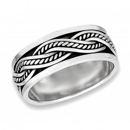 Ezüst Fonott Pörgethető Karikagyűrű
