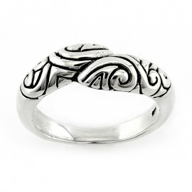 Ezüst Bali Gyűrű Ölelkező Mintával