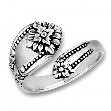 Ezüst Viktoriánus Gyűrű Virággal