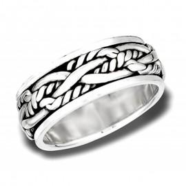 Ezüst Fonott Kötél Mintás Pörgethető Gyűrű