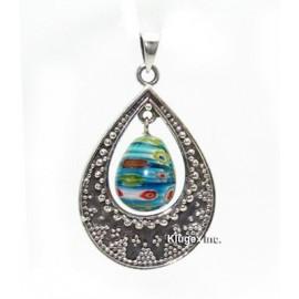 Ezüst Medál Muranoi Üveggel