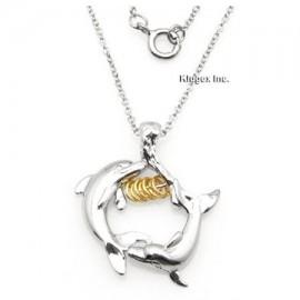 Ezüst Dupla Delfin Medál Kívánságkarikákkal